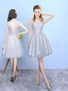 Beauteous Silver Sleeveless Lace Knee Length Dama Dress