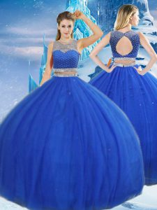 Elegant Asymmetrical Royal Blue Ball Gown Prom Dress Tulle Sleeveless Beading and Sequins