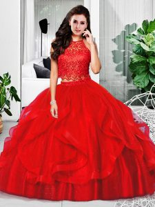 New Style Tulle Halter Top Sleeveless Zipper Lace and Ruffles Quinceanera Dress in Red