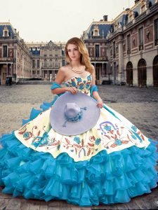 Stylish Floor Length Lace Up Sweet 16 Quinceanera Dress Aqua Blue for Military Ball and Sweet 16 and Quinceanera with Embroidery and Ruffled Layers