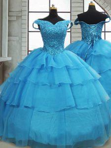 Stunning Baby Blue Sleeveless Beading and Ruffled Layers Lace Up 15th Birthday Dress
