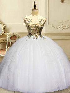 White Sleeveless Organza Lace Up Quinceanera Gowns for Military Ball and Sweet 16 and Quinceanera