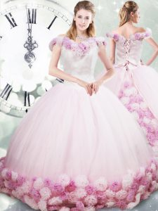 Cheap Pink Fabric With Rolling Flowers Lace Up Quinceanera Gown Sleeveless Brush Train Hand Made Flower