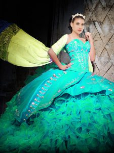 Most Popular Turquoise Ball Gowns Sweetheart Sleeveless Organza With Brush Train Lace Up Embroidery and Ruffles Ball Gown Prom Dress