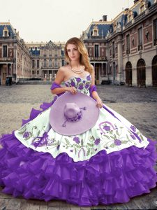 Embroidery and Ruffled Layers Vestidos de Quinceanera Lavender Lace Up Sleeveless Floor Length