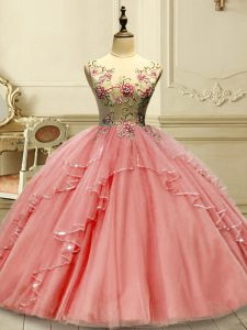 Flare Watermelon Red Lace Up Quince Ball Gowns Appliques Sleeveless Floor Length