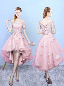 Vintage Baby Pink Off The Shoulder Lace Up Lace Quinceanera Court of Honor Dress Short Sleeves