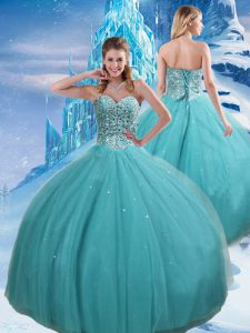 Trendy Sleeveless Lace Up Floor Length Beading and Sequins 15th Birthday Dress