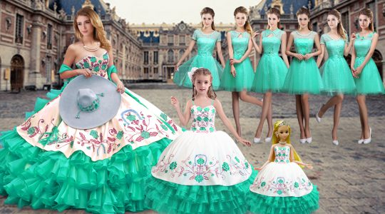 Custom Fit Sleeveless Organza Floor Length Lace Up 15 Quinceanera Dress in Turquoise with Embroidery and Ruffled Layers