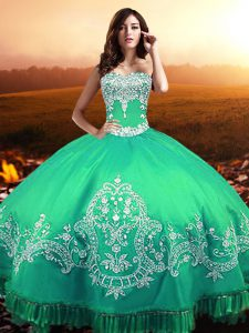 Turquoise Sweet 16 Quinceanera Dress Military Ball and Sweet 16 and Quinceanera with Beading and Appliques Sweetheart Sleeveless Lace Up