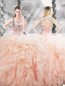 Peach Tulle Lace Up Straps Sleeveless Floor Length Quinceanera Dress Beading and Ruffles