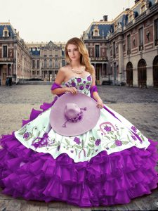 Romantic Eggplant Purple Organza Lace Up Quince Ball Gowns Sleeveless Floor Length Embroidery and Ruffled Layers