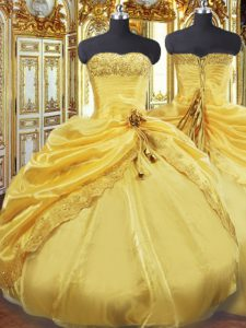 Lovely Gold Ball Gowns Taffeta Strapless Sleeveless Beading and Pick Ups Floor Length Lace Up Quinceanera Gown