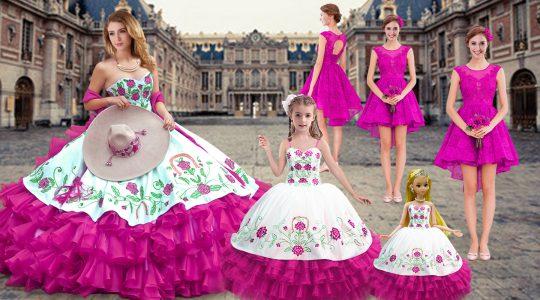 Glittering Sweetheart Sleeveless Lace Up Sweet 16 Dress Fuchsia Organza