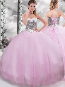 Lace Up Sweet 16 Dress Lilac for Military Ball and Sweet 16 and Quinceanera with Beading Brush Train
