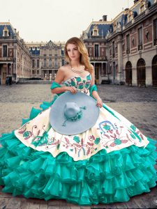 Spectacular Sweetheart Sleeveless Lace Up Sweet 16 Quinceanera Dress Turquoise Organza and Taffeta