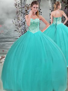 Sweetheart Sleeveless Tulle Quinceanera Dresses Beading Lace Up