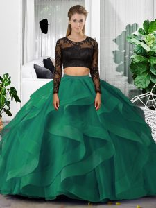 Dark Green Scoop Neckline Lace and Ruffles Sweet 16 Dresses Long Sleeves Backless