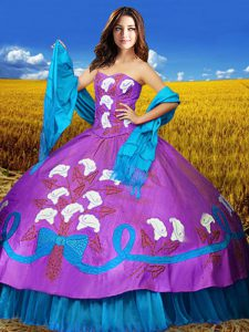 Delicate Multi-color Sleeveless Embroidery Floor Length Sweet 16 Quinceanera Dress