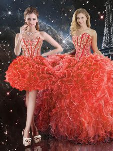 Unique Coral Red Ball Gowns Organza Sweetheart Sleeveless Beading and Ruffles Floor Length Lace Up Quinceanera Dress