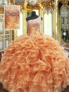Orange One Shoulder Neckline Beading and Ruffles Sweet 16 Dress Sleeveless Lace Up