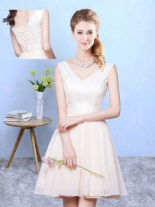 Latest Knee Length Champagne Dama Dress for Quinceanera Chiffon Sleeveless Ruching