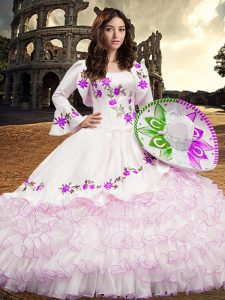 Vintage Floor Length White Sweet 16 Dress Organza Long Sleeves Embroidery and Ruffled Layers