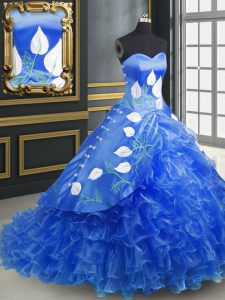 Blue Sleeveless Embroidery and Ruffles Lace Up 15 Quinceanera Dress