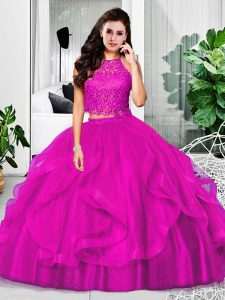 Great Tulle Halter Top Sleeveless Zipper Lace and Ruffles Quince Ball Gowns in Fuchsia