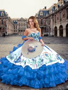 Enchanting Sweetheart Sleeveless Quinceanera Gowns Floor Length Embroidery and Ruffled Layers Blue And White Organza and Taffeta