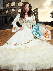 Inexpensive White Lace Up Square Embroidery and Ruffled Layers 15 Quinceanera Dress Organza Long Sleeves