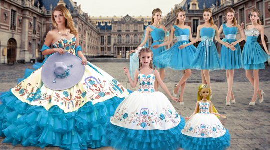 Cute Sleeveless Lace Up Floor Length Embroidery and Ruffled Layers Sweet 16 Dresses