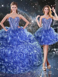 Excellent Blue Sleeveless Floor Length Beading and Ruffles Lace Up Sweet 16 Dress
