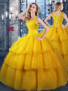 Organza Straps Sleeveless Lace Up Ruffled Layers Sweet 16 Quinceanera Dress in Gold