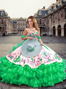 Decent Floor Length Green Sweet 16 Dress Organza Sleeveless Embroidery and Ruffled Layers