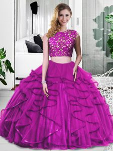 Wonderful Scoop Sleeveless Sweet 16 Dresses Floor Length Lace and Ruffles Fuchsia Tulle