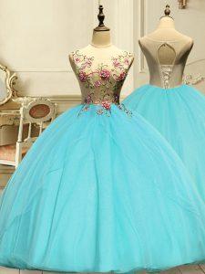 Aqua Blue Lace Up Scoop Appliques Quinceanera Gowns Organza Sleeveless