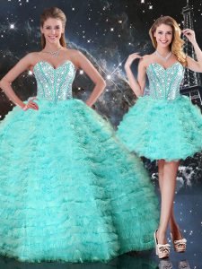 Hot Selling Turquoise Ball Gowns Beading and Ruffled Layers Quinceanera Dresses Lace Up Organza Sleeveless Floor Length