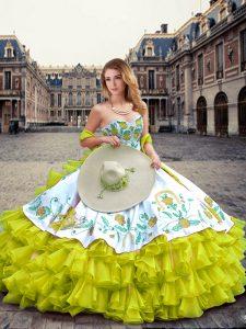 Sweetheart Sleeveless Lace Up Sweet 16 Dress Yellow Green Organza and Taffeta