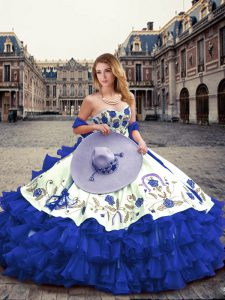 Royal Blue Sleeveless Organza Lace Up Vestidos de Quinceanera for Military Ball and Sweet 16 and Quinceanera