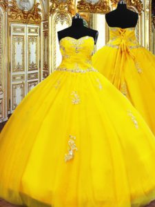Beauteous Floor Length Gold Sweet 16 Dresses Sweetheart Sleeveless Lace Up