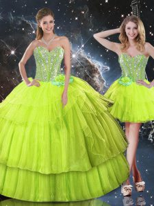 Ball Gowns Sweet 16 Dresses Yellow Green Sweetheart Organza Sleeveless Floor Length Lace Up