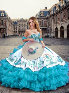 Amazing Floor Length Blue And White Sweet 16 Dress Sweetheart Sleeveless Lace Up