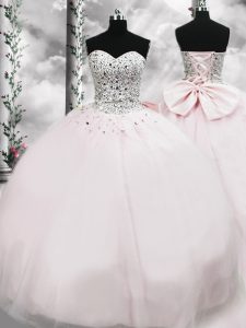 Free and Easy Pink Sleeveless Brush Train Beading and Bowknot Quinceanera Dresses