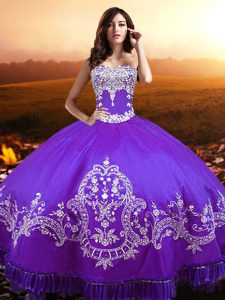 Purple Sleeveless Floor Length Beading and Appliques Lace Up Quinceanera Gowns
