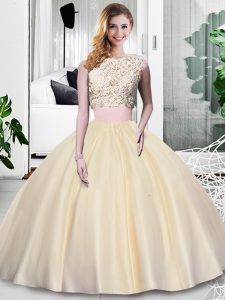 Luxurious Champagne Sleeveless Floor Length Lace and Appliques and Ruching Zipper 15 Quinceanera Dress