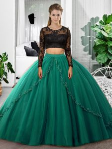 Customized Dark Green Tulle Backless Scoop Long Sleeves Floor Length Quinceanera Dresses Lace and Ruching