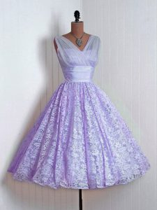 Lavender Lace Lace Up Court Dresses for Sweet 16 Sleeveless Mini Length Lace