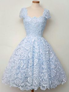Fancy Light Blue Cap Sleeves Lace Lace Up Vestidos de Damas for Prom and Party and Wedding Party