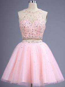Adorable Knee Length Lace Up Dama Dress Baby Pink for Prom and Party and Wedding Party with Beading